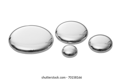 Drops of mercury isolated on white.