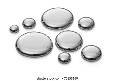 Drops of mercury isolated on white. Image with infinite depth of focus, very sharp.