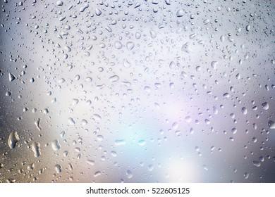 Drops of rain on the window.