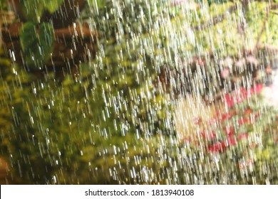Drops of slanting rain on a background of greenery and flowers outside the window. The sun's rays form a gradient. Bokeh is out of focus. Summer abstract background.