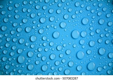 drops water on blue texture background
