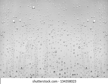 drops of water on the transparent glass