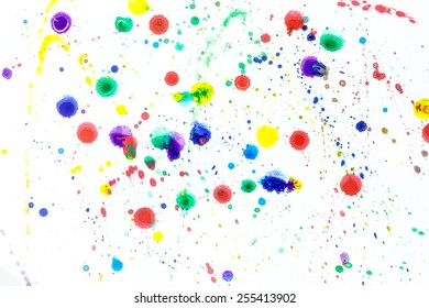 Drops watercolor splashes colorful isolated on white background.