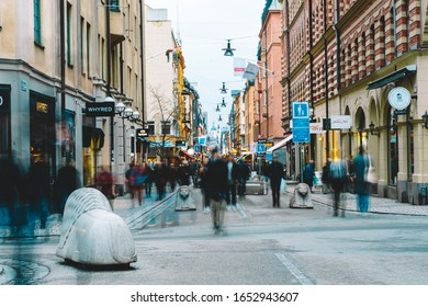 Drottninggatan - Stockholm's main shopping street. Crowd of people. 14 February 2020, Stockholm Sweden