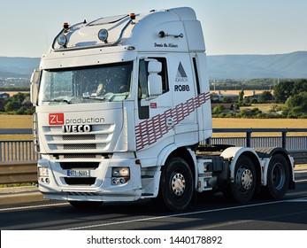 Drouzkovice, Czech republic - June 30, 2019: white camion near city of Chomutov