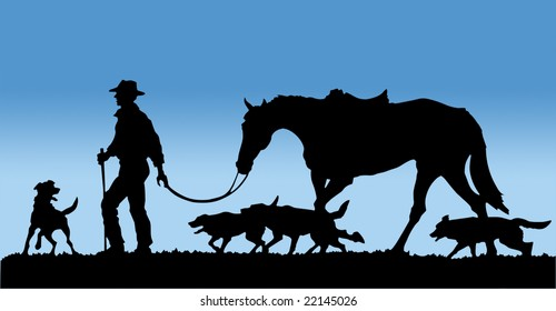 Drover and his Dogs isolated with clipping path