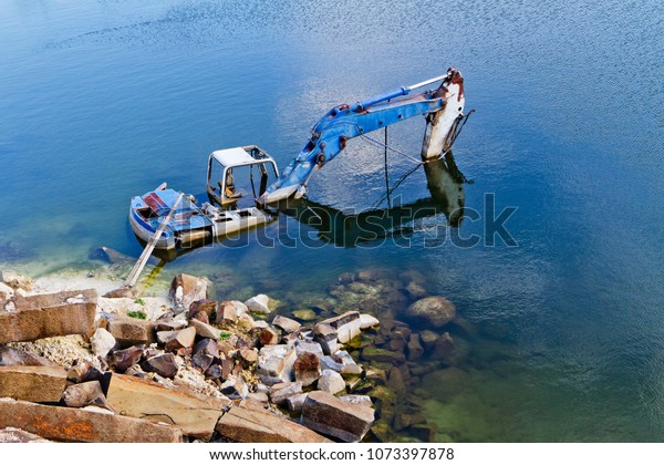 Drowned Excavator Old Abandoned Basalt Quarry Stock Photo