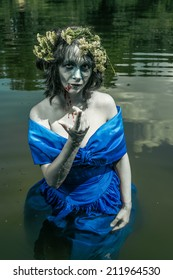 Drowned water nymph horror portrait