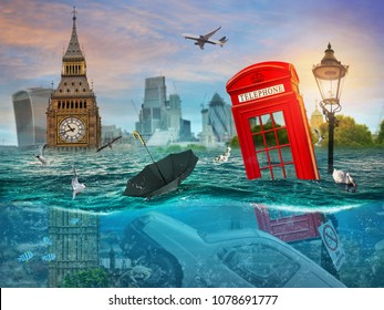 Drowning London. Surreal conceptual artwork. Photo manipulation. An idea for your cover, advertising, illustration.