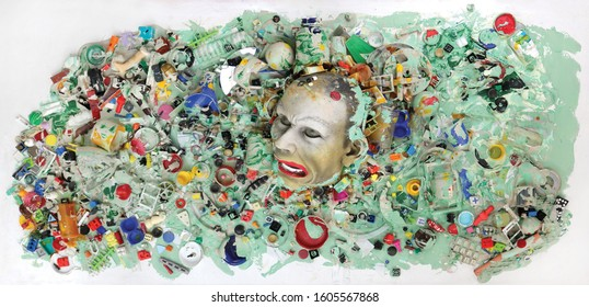 Drowning in Plastics art piece / concept illustration depicting worldwide environmental plastic pollution.