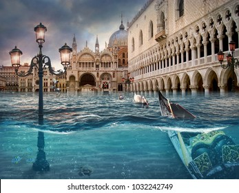 Drowning Venice. Surreal conceptual artwork. Photo manipulation. An idea for your cover, advertising, illustration.