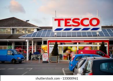 DROYLSDEN, MANCHESTER - MAR 26: Tesco Store on March 26, 2013 in Droylsden, Manchester. United Kingdom, Great Britain, England, UK. Tesco is Britain's biggest supermarket and biggest retailer in UK.