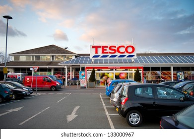 DROYLSDEN, MANCHESTER - MAR 26: Tesco Store on March 26, 2013 in Droylsden, Manchester. United Kingdom, Great Britain, England, UK. Tesco is Britain's biggest supermarket and biggest retailer in UK.