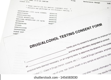 Drug and alcohol testing consent form  with results from a drug abuse panel lab report