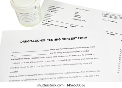 Drug and alcohol testing consent form with sterile urine container and lab report
