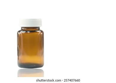 Drug bottle on white background