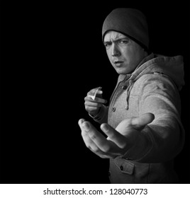 drug dealer selling heroin or cocaine and demanding money black and white with copy space
