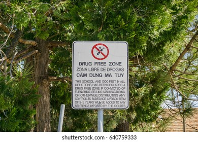 Drug Free Zone sign posted near a school, California