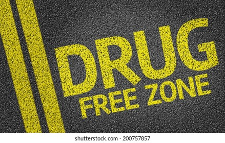 Drug Free Zone written on the road