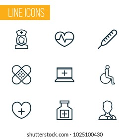 Drug icons line style set with equipment, doctor, heart and other temperature   elements. Isolated  illustration drug icons.
