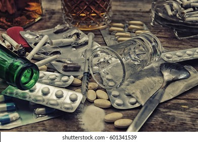 Drugs, alcohol and pills