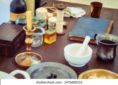 Drugs and mixtures in the field military hospital, retro style. Reconstruction of mobile medicine 18th and 19th century. Attributes of a field military hospital.