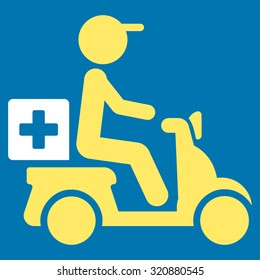 Drugs Motorbike Delivery glyph icon. Style is bicolor flat symbol, yellow and white colors, rounded angles, blue background.