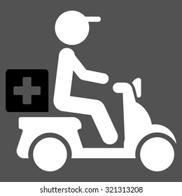 Drugs Motorbike Delivery raster icon. Style is bicolor flat symbol, black and white colors, rounded angles, gray background.