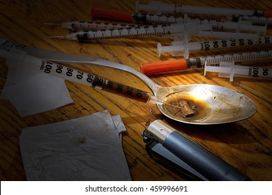 Drugs paraphernalia make up a hit or injection of heroine. Opium is abused around the world and resulting in many users developing a drug addiction problem and having to seek rehabilitation treatment.