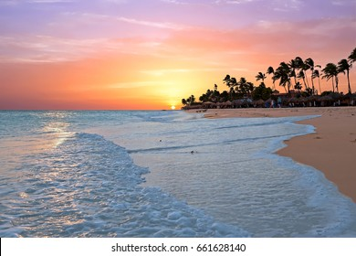 Druif beach at sunset on Aruba island in the Caribbean sea