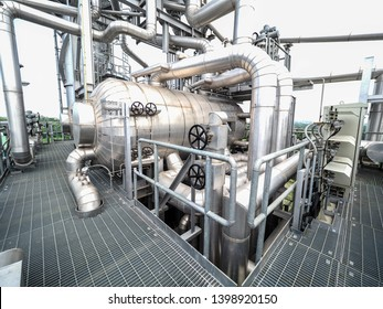 Drum for generator steam of HRSG boilers systems (Heat recovery steam generator) during construction in Combined-Cycle Co-Generation Power Plant.