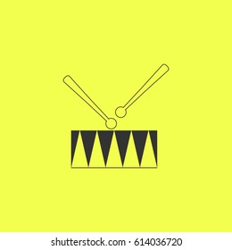 Drum icon flat. Simple grey pictogram on yellow background. Illustration symbol