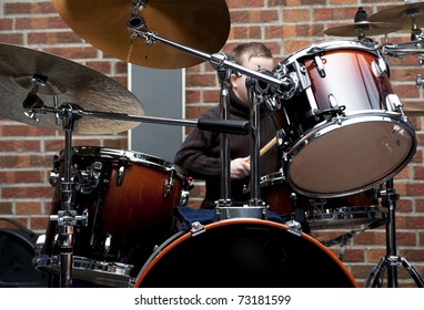 Drum kit ,- shallow depth of field