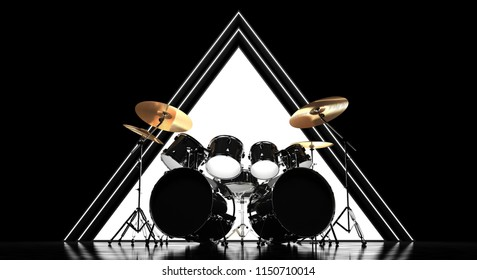 The drum is mounted against the background of a luminous pyramid framed by strips in a dark space. Brutal drum on the background of the pyramid.