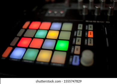 drum pad drum machine. DJ remote control close up