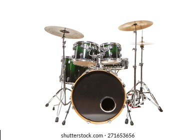 Drum set with green color stands on a white background