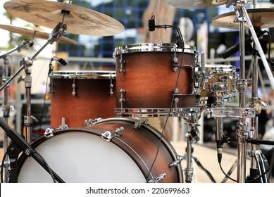 Drum set, musical instrument on a street concert