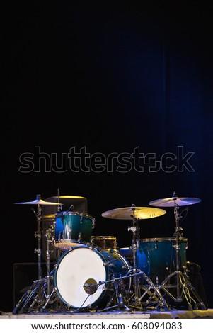 Drum Set On Stage Dark Background Stock Photo Edit Now 608094083