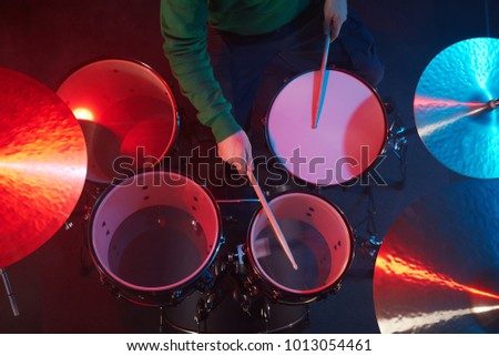 Drum Set On Stage Drummer View Stock Photo Edit Now 1013054461