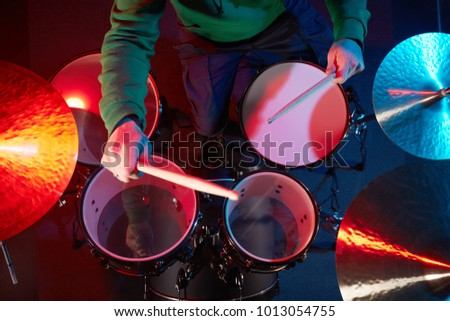 Drum Set On Stage Drummer View Stock Photo Edit Now 1013054755