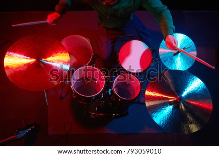 Drum Set On Stage Drummer View Stock Photo Edit Now 793059010