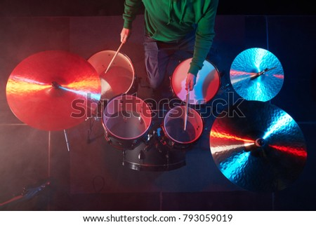 Drum Set On Stage Drummer View Stock Photo Edit Now 793059019