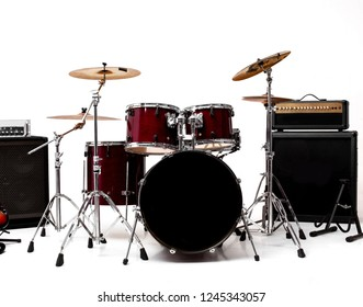 drum set on white background. Set of musical instruments