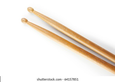 Drum stick in real world condition , isolated on white.