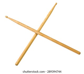 Drum sticks do from wood on white background.