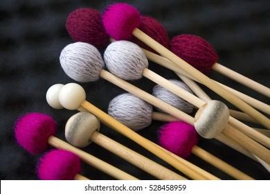 drum sticks for drums, musical instrument on black background