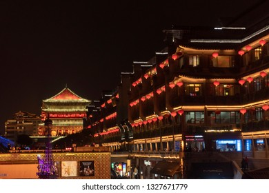 Drum tower near the downtown at night.In Xian city, Shaanxi province, China. The Spring Festival in 2019.