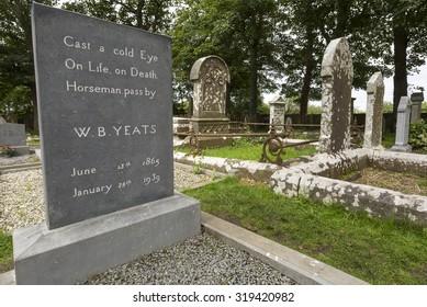 DRUMCLIFF, IRELAND - AUGUST 15, 2015: William Butler Yeats grave in Drumcliff, County Sligo, Ireland