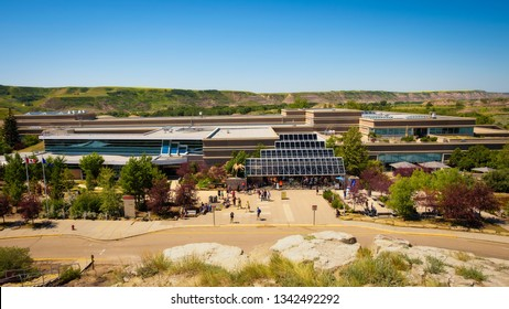Drumheller, Alberta, Canada - July 6, 2017 : Building of the Royal Tyrrell Museum of Palaeontology in canadian badlands.