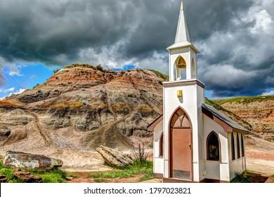 Drumheller, Alberta - July 3, 2020: Small roadside chapel outside of Drumheller Alberta